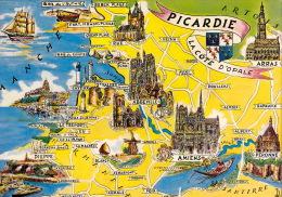 CP - Carte Géographique - La Picardie - Landkarten