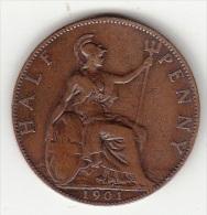 GRAN BRETAGNA - HALF PENNY 1901 - - 1816-1901 : 19th C. Minting