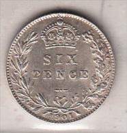 GRAN BRETAGNA - SIX PENCE 1901 ARGENTO - STUPENDO - 1816-1901: 19. Jh.