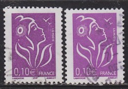 = Marianne De Lamouche ITVF 0.10€, Violet Rouge Les 2 Types  3732 Et 3732a Oblitérés - 2004-08 Marianne Of Lamouche