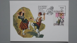 Spanien 2791 Ed 2910 Yt 2526 MaximumCard MK/MC, ESST Madrid, 25 Jahre Folklore-Festival Der Pyrenäen - Maximum Cards