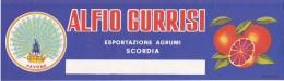 ETICHETTA PUBBLICITARIA- AGRUMI PAVONE -DITTA ALFIO GURRISI -ESPORT.AGRUMI -SCORDIA - Pubblicitari