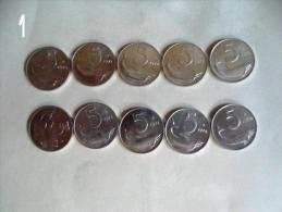 10 MONETE DA LIRE 5  ANNI 70 - 71 - 72 - 73 - 74 - 75 - 76 - 77 - 78 - 79 - - Monete