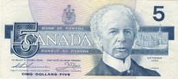 BILLET # CANADA # 1986 # PICK 85 # CINQ DOLLARS   # CIRCULE # - Canada