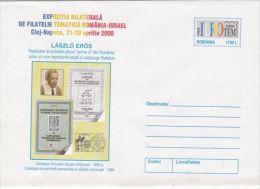 LASZLO EROS, PHILATELIST, COVER STATIONERY, ENTIER POSTAL, 2000, ROMANIA - Interi Postali