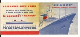 Paquebot FRANCE  Dépliant Publicitaire , Coupe Longitudinale Du Paquebot - Paquebote
