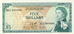 BILLET # CARAIBES ORIENTALES  # 1965 # PICK 14 # CINQ DOLLARS    # NEUF # - Caraïbes Orientales