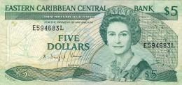 BILLET # CARAIBES ORIENTALES  # 1986/88 # PICK 18 # CINQ DOLLARS  # NEUF # - Caraïbes Orientales