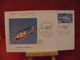 FDC, Hélicoptère Gazelle - 93 Le Bourget - 31.5.1975 - 1er Jour - - 1970-1979