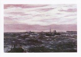 Maritime Art Postcard Armed Trawler Pentland Firth Claude Muncaster Painting WW2 Painting - Fishing Boats