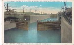 PANAMA CANAL / OPENING LOWER GUARD GATES / MIRAFLORES LOCKS / CIRC 1931 - Panama