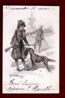 Illustration Vienne  Viennoise Art Nouveau Illustrateur Braun - Chasse Au Lapin Chasseurs & Chien Setter - Hunting - Braun, W.