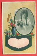 134729 / VASE , FLOWERS , BIRD DOVE , PORTRAIT BEAUTIFUL CHARMING LOVELY  Woman Femme Frau - R&K L. 2940/5 A - Femmes