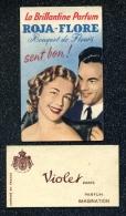 2 PUBLICITES SENT BON PARFUM ROJA FLORE + VIOLET PARIS PARFUM IMAGINATION - Publicités