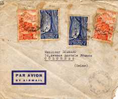 Timbres Sur Enveloppe Par Avion -1950 - 2 X 1f Orange AEF Et 2 X 4f Bleu Afrique équatoriale Française - Non Classés