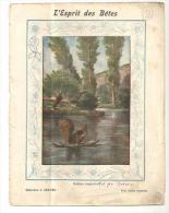 Couverture De Cahier D´écolier Des Années 1920 L'esprit Des Bétes L'écureuil Radeau Improvisé - Protège-cahiers