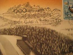 Cortina d' Ampezzo 1956 SKI JUMPING jump skiing winter olympic games olympics Italy stadium maxi maximum card Italia