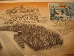 Cortina D' Ampezzo 1956 FIGURE SKATING Woman Winter Olympic Games Olympics Italy Stadium Maxi Maximum Card - Patinage Artistique