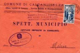 1952 STORIA POSTALE COMUNI ITALIA AL LAVORO BELLA BUSTA COMUNE DI CALTANISETTA--R745 - 6. 1946-.. Republik