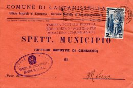 1952 STORIA POSTALE COMUNI ITALIA AL LAVORO BELLA BUSTA COMUNE DI CALTANISETTA--R745 - 1946-.. République