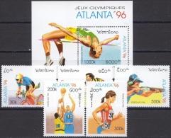 Olympic Games Laos 1996 #1498/02 + Bl 156  Atlanta MNH ** - Ete 1996: Atlanta