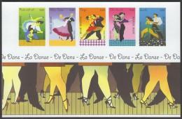 "Blok 136   BL136  ONGETAND  ""dans, Tango, Samba, Rock-n'-roll""  Cote 50,00 Euro - No Dentado"