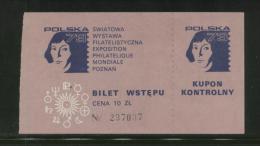 POLAND 1973 POLSKA 73 STAMP EXHIBITION EXPO COPERNICUS TICKET T3 ASTRONOMER ASTRONOMY - Cinderellas