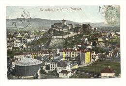 Cp, 65, Lourdes, Le Château Fort, Voyagée - Lourdes