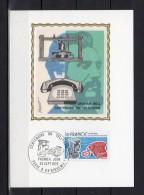 """Carte Maximum En Soie De 1976 N° Y&T 1905 """" 100 ANS DU TELEPHONE """" Parfait état + Prix Dégressif. CM"""