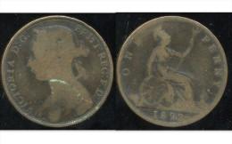 GRANDE BRETAGNE ( Royaume Uni )  One  1 Penny 1892 - 1816-1901 : Frappes XIX° S.