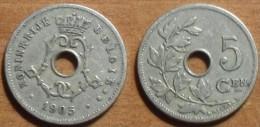 1905 - Belgique - Belgium - 5 CENTIMES, Type Michaux, Légende Belgie, Grande Date, KM 55 - 03. 5 Centimes