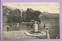 74 -  ANNECY -  Promenade Du Jardin Public - Vue Sur Le Lac Et  L'Ile Des Cygnes  - Animée - Annecy