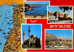 SYRIE 4 VUES/ 1 CARTE BEAUX TIMBRES  DAMAS - Syrië