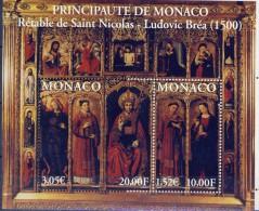 ##O203. Monaco 2000. Bréa Triptychon. Painting. Michel Block 80. MNH(**) - Blocks & Kleinbögen