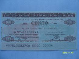 MINIASSEGNI  IST. CENT.BANCHE POPOLARI ITALIANE FDS  100 LIRE UNIONE COMM.DI AVELLINO - [10] Assegni E Miniassegni