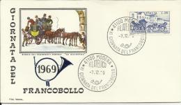 Italia 1969, Giornata Del Francobollo (o), Fdc Roma - 6. 1946-.. Repubblica