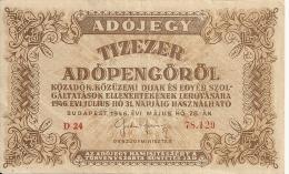 HONGRIE 10000 ADOPENGO 1946 VF+ P 143 - Hungary