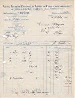 41 FRETEVAL St OUEN VENDOME VANNES FACTURE 1933 FONDERIES EMAILLERIES Ets P. GENEVEE   *   S10 - France