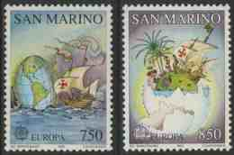 San Marino 1992 Mi 1508 /9 ** Egg-shaped Globe, Caravel + Caravel , Island Inside Broken Egg / Landung + Karte Route - Christoffel Columbus