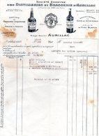 - Facture Distilleries & Brasserie à AURILLAC ( 15 ) - 259 - Alimentaire