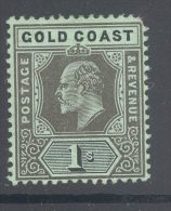 GOLD COAST, 1907 1/- Black On Green (short Corner Perf) Fine MM, Cat £20 - Goudkust (...-1957)