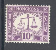 HONG KONG, 1938 POSTAGE DUE 10c (script CA, Ord Paper, SGD10), Vf MM, Cat £30 - Hong Kong (...-1997)