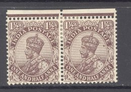 INDIA, 1911 1½As  Pair With Part Margin Very Fine MM, Cat £11++ - Inde (...-1947)