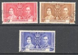 MONTSERRAT, 1937 Coronation Set VFU - Montserrat