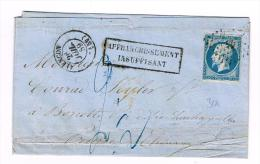 1859 - ORNE - LETTRE De ALENCON  Pour L´ALLEMAGNE Avec RARE TAXE MANUSCRITE De 2,5 Pour AFFRANCHISSEMENT INSUFFISANT - 1849-1876: Période Classique