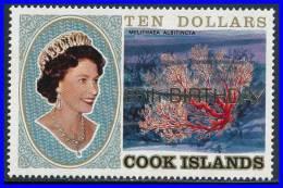 COOK ISLANDS 1991 10.00$ GOLD OVPT 65th ANNIVERSARY  QEII BIRTHDAY SC#1049 MNH MARINE LIFE - Marine Life