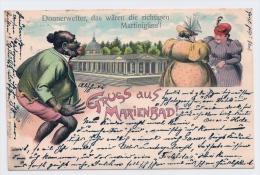 """Litho AK GRUSS AUS MARIENBAD - """"Donnerwetter Das Wären Die Richtigen Martinigäns!"""" -  Humor Scherzkarte  1901 - Gruss Aus.../ Gruesse Aus..."""