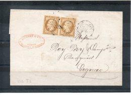 N°13 En Paire Sur Lettre De Paris Pour Cognac - 1849-1876: Classic Period