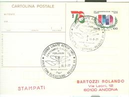 CENTENARIO ELICOTTERO DI FORLANINI, AEROPORTO LINATE, MILANO, ANNULLO SPECIALE FIGURATO SU CARTOLINA , 1977, VOLO CON EL - Elicotteri