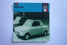 Sports Moto -carte Fiche Voiture - De Tourisme - Automobile - Vespa 400 - 1957 - 1960 - ( Description Au Dos De La Carte - Turismo